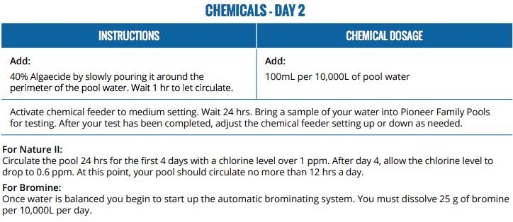 Pioneer Family Pools Pool Opening Chemical Guide Sheet 2