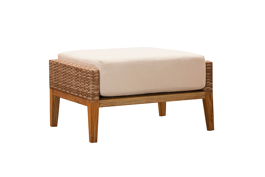 Indo Wicker and Wood Ottoman
