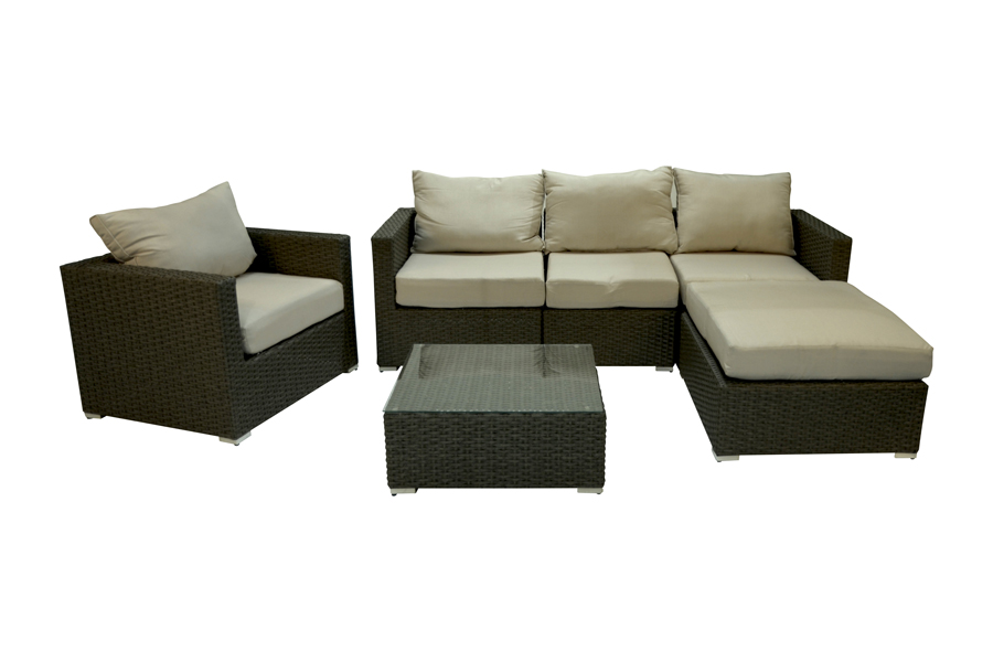 Manhattan Sectional Lounge Sofa with Club Chair and Coffee Table