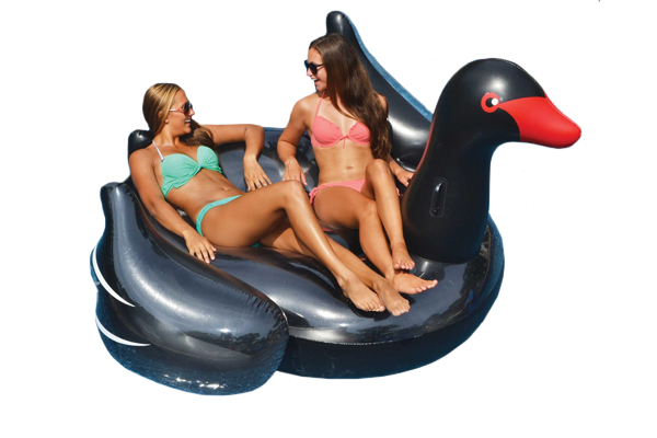 Swimline Giant Black Swan Ride-On Pool Float 90629