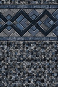 Latham Diamond Bordered Liner Cobalt Lake with Grey Mosaic