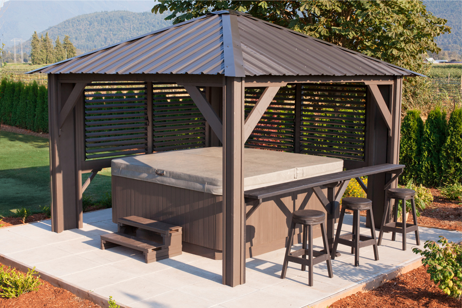 tuscany 11 39 x 11 39 louvred gazebo canadian made we know. Black Bedroom Furniture Sets. Home Design Ideas