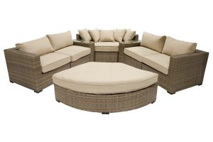 Beige 8 Piece Curved Sectional