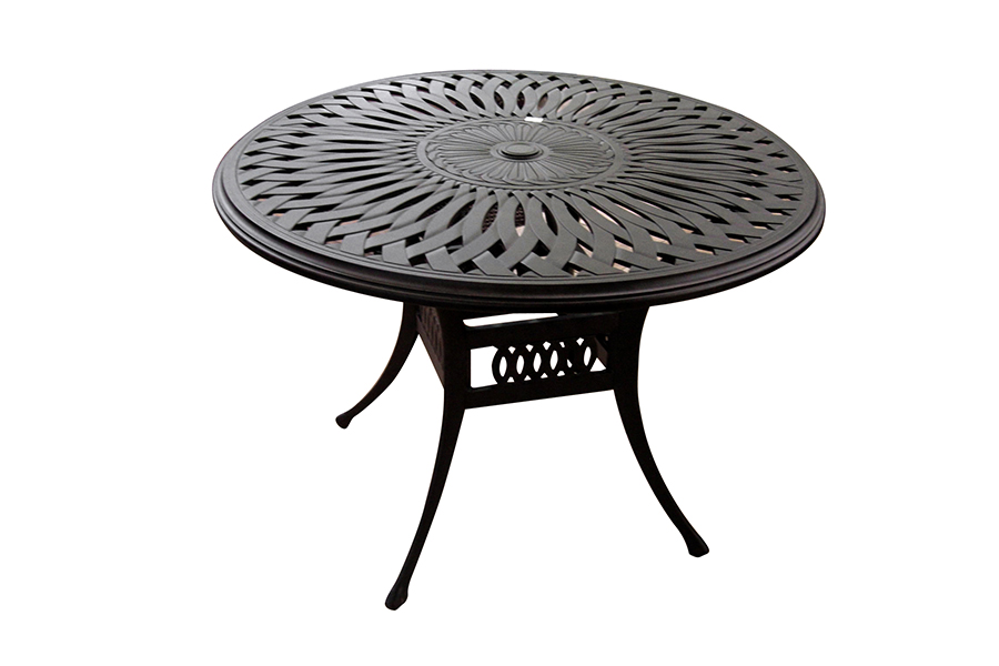 "48"" Round Cast Aluminum Outdoor Dining Table"
