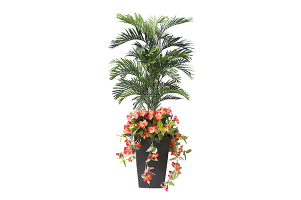 60″ PALM AND ORANGE FLOWER PLANTER