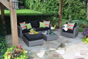 Milan Sectional Greige and Black