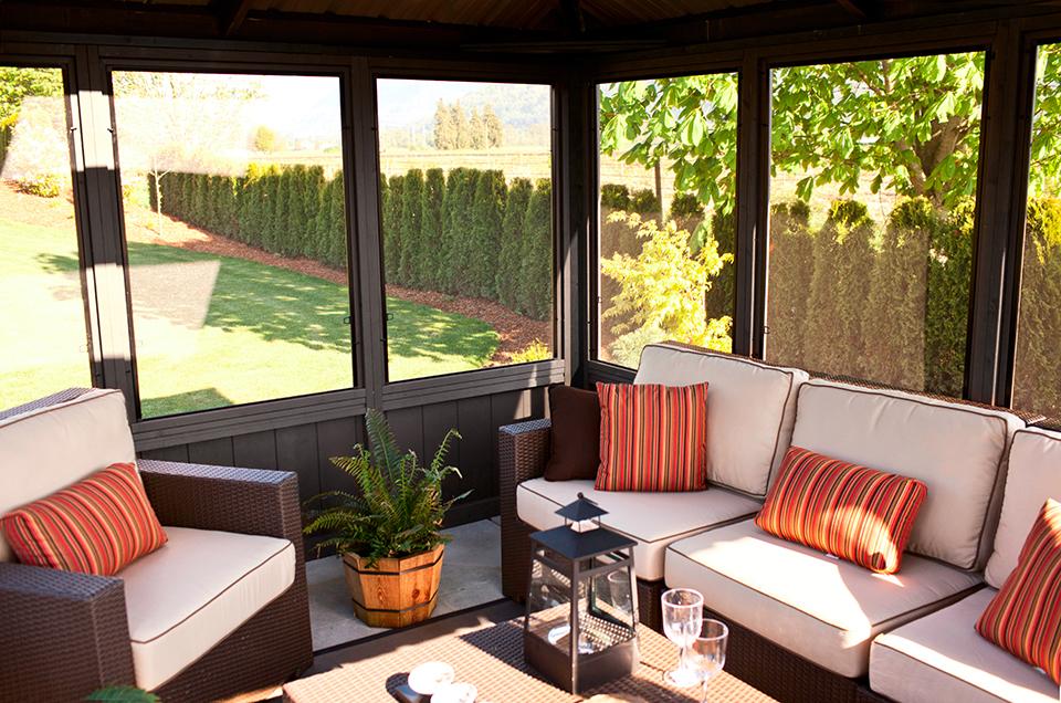 Okanagan 11 39 x14 39 enclosed gazebo made in canada for Outdoor furniture kelowna