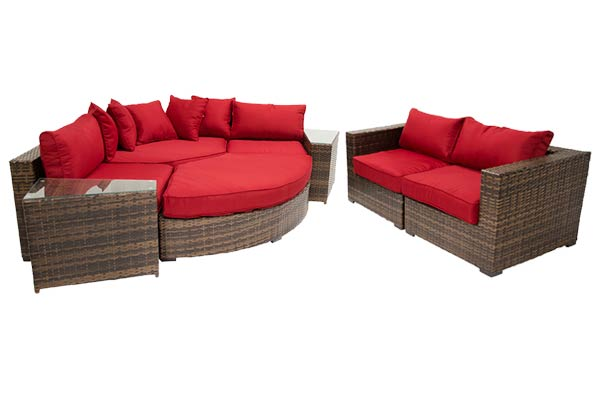 Red 8-Piece Curved Sectional