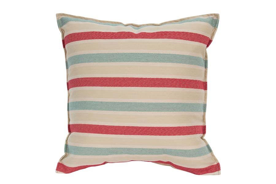 Red & Light Blue Stripe Outdoor Cushion