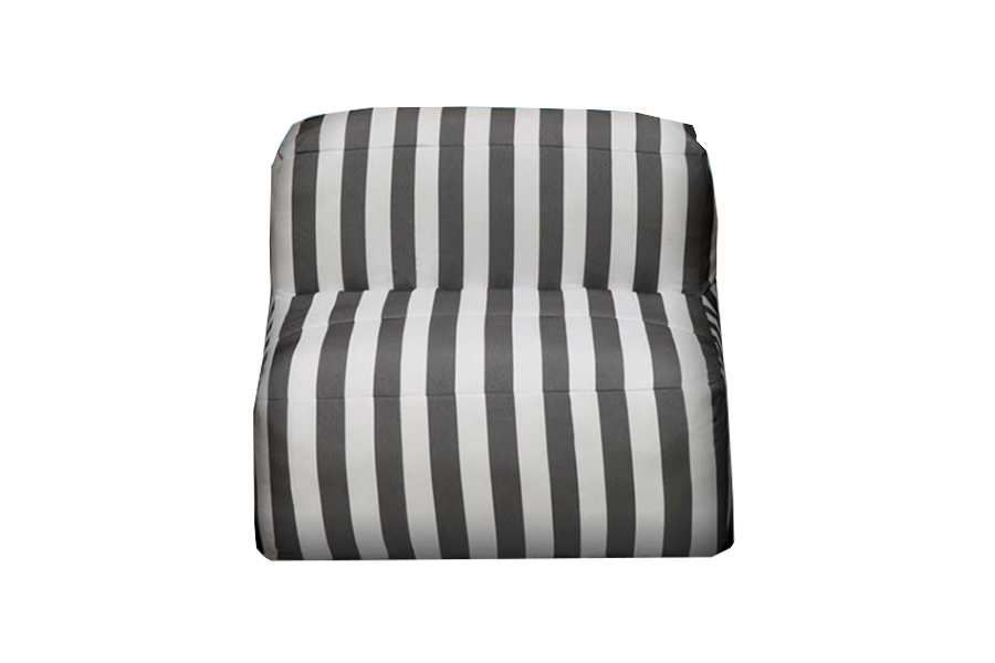 Armless Lounge Piece Dark Grey Stripe