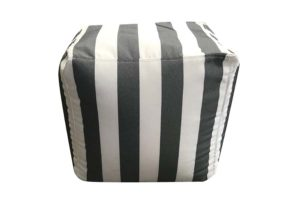 Modish Square Ottoman Dark Grey Stripe