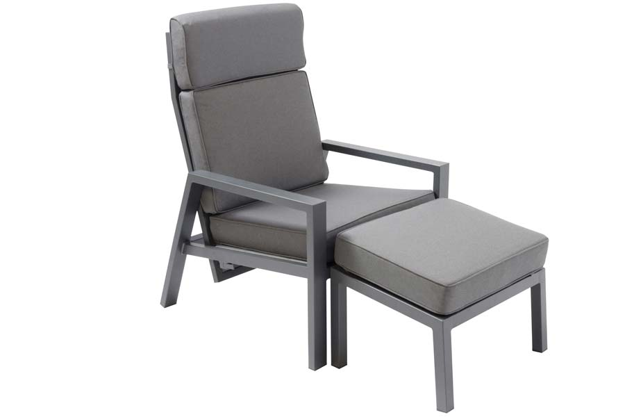 Reclining Chair With Ottoman Dark Grey