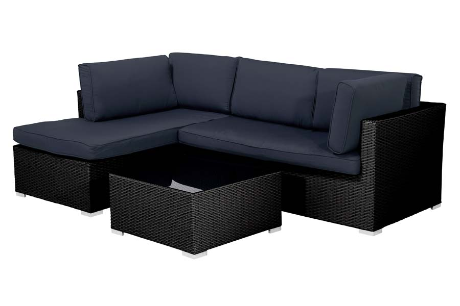 Three Piece Sectional Black / Blue