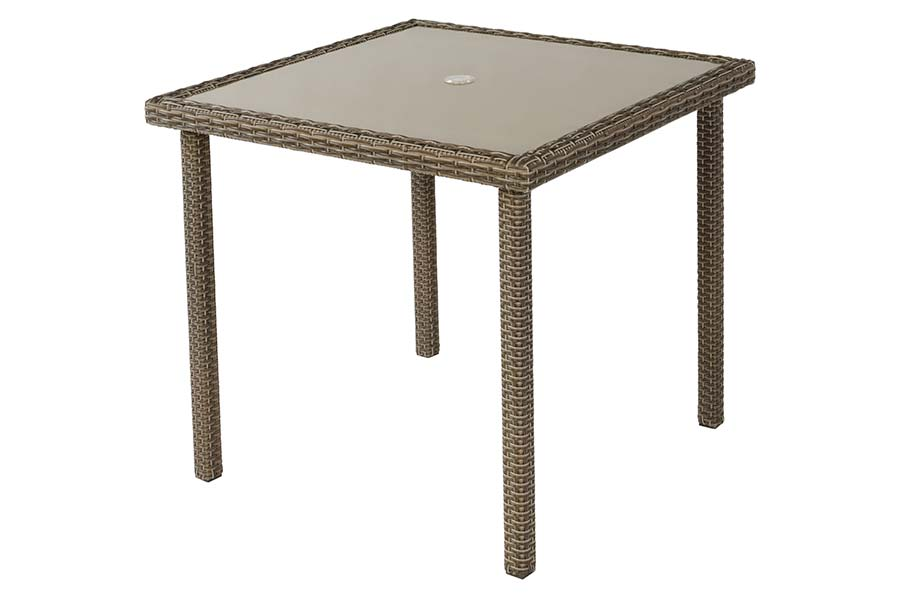 36″ Square Glass Dining Table Taupe