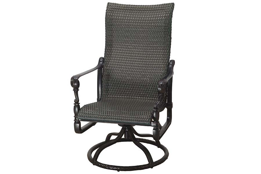 Woven High Back Swivel Dining Chair
