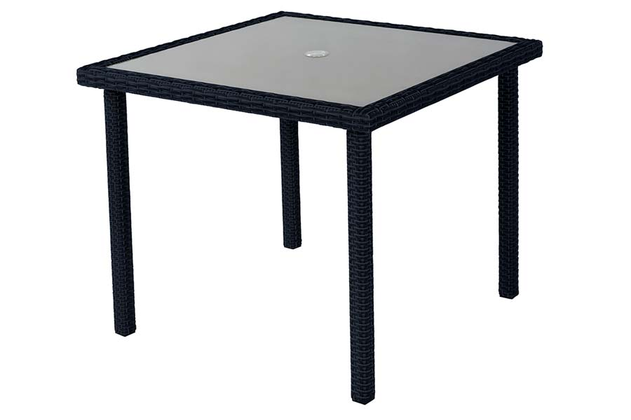 36″ Square Glass Table Dark Charcoal