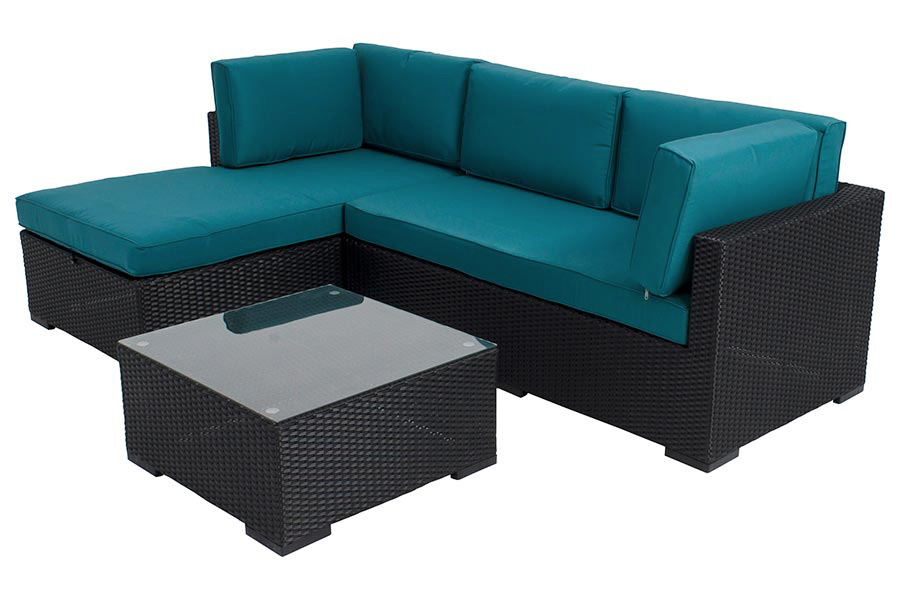 Three Piece Sectional Black / Teal