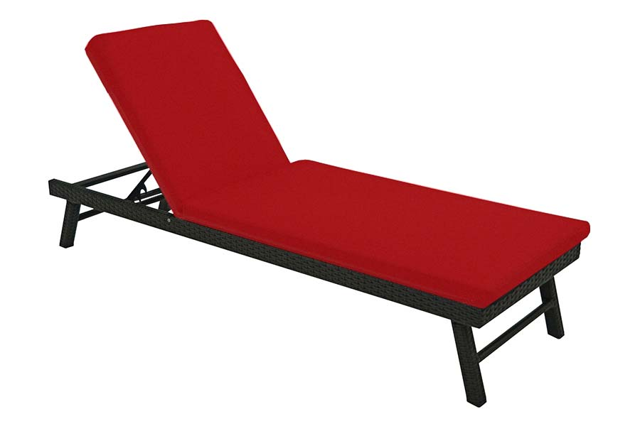 Black/Red Resin Wicker Chaise Lounge