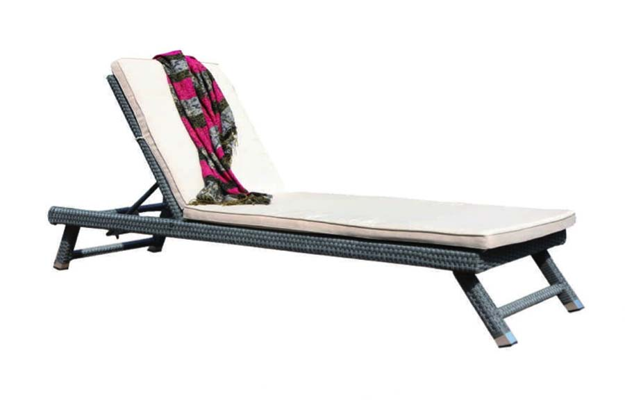 Resin Wicker Chaise Lounge Grey