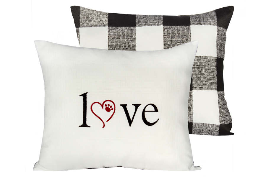 14″ x 20″ Love Buffalo Check Pillow