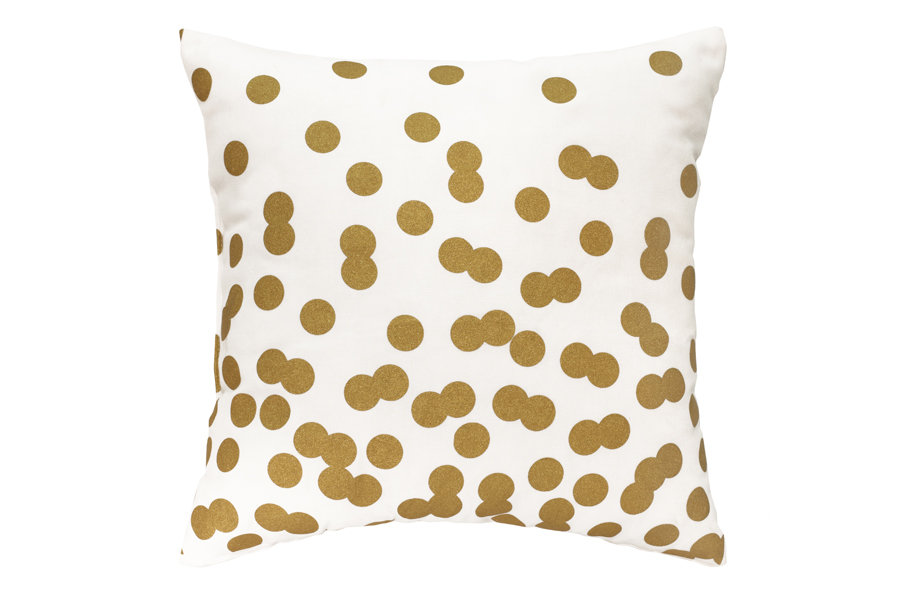 Square White & Gold Dots Pillow