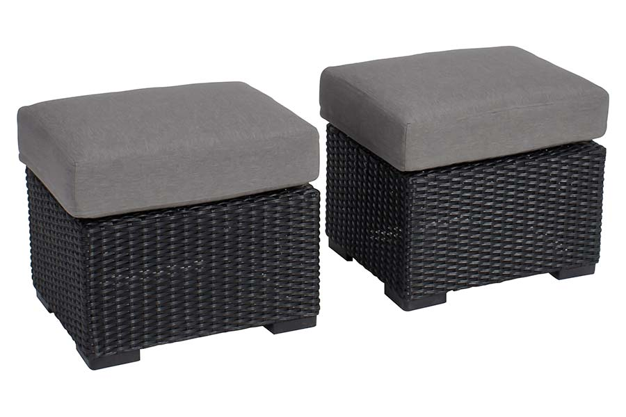 Mila Collection Square Ottoman Black/Grey