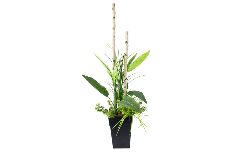 72″ Outdoor Planter Birch Branch With Birds Of Paradise