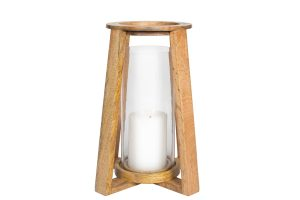 "7"" x 12"" Wood Lantern Glass"