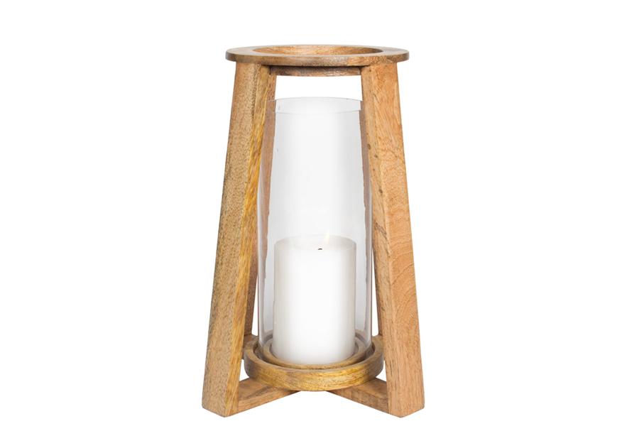 "7"" x 12"" Wood Lantern Glass"