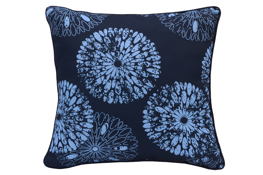 18″x18″ Blue Flower Navy