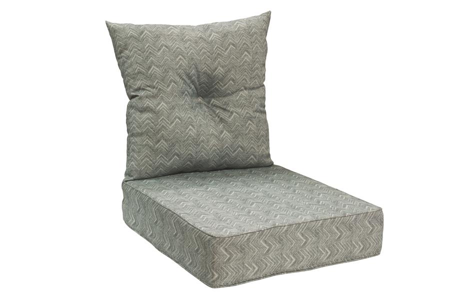 Bottom & Back Cushion Grey Chevron