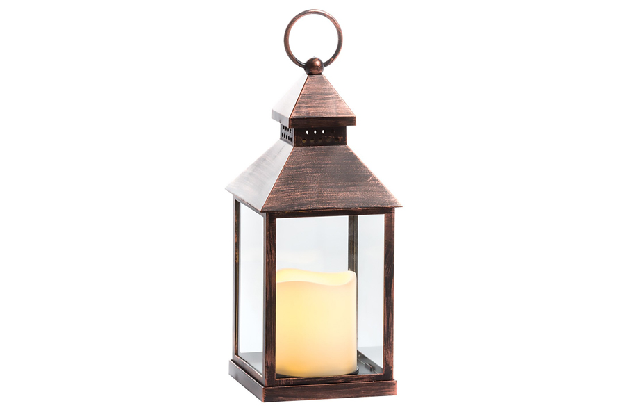 LED Lantern With Pillar Copper