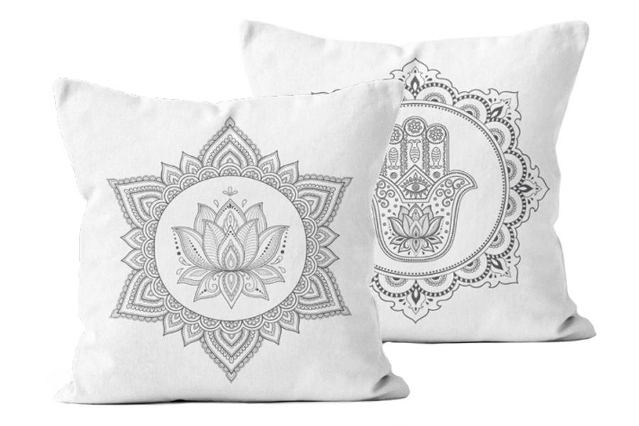 Namaste Grey White Pillow