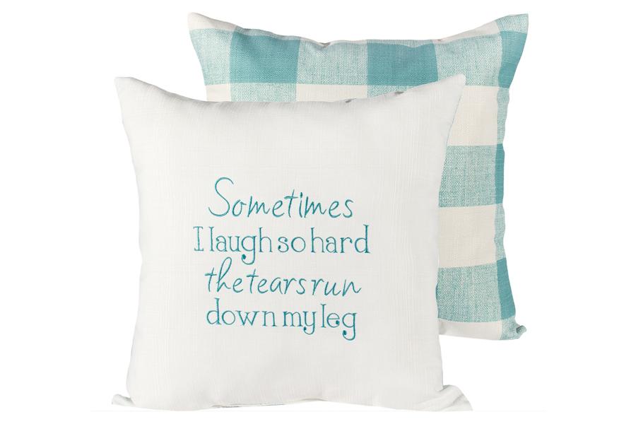 Sometimes Aqua Buffalo Check Pillows
