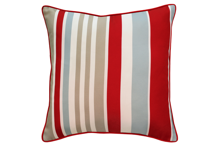 Square Red, Grey & Taupe Stripe