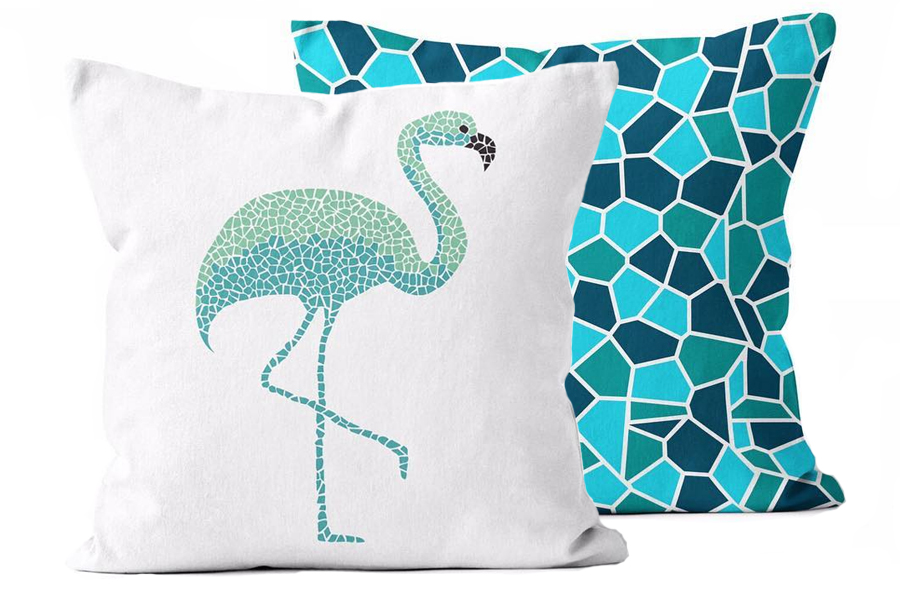 "The Urban Oasis Mosaic Flamingo Seaglass Toss Pillows bring oceanic, fresh vibes to your outdoor oasis. These square pillows measure 20"" x 20""."