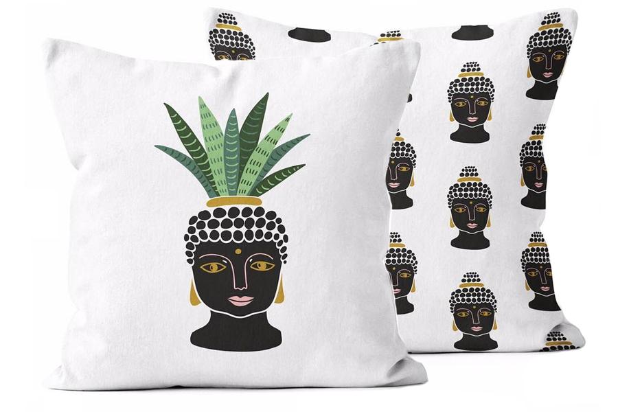 20″x20″ Buddha Bust Green/Smaller Buddha