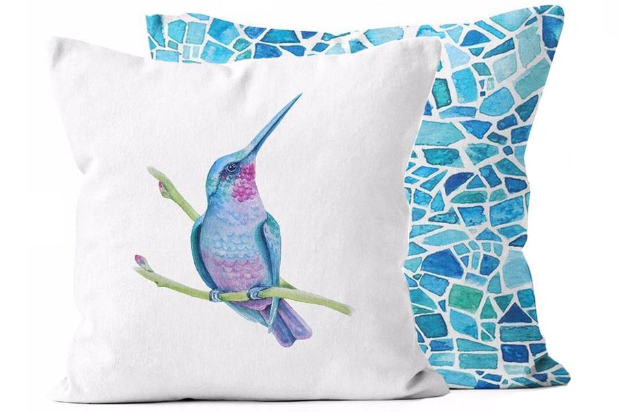 17″x17″ Vibrant Hummingbird/Peacock