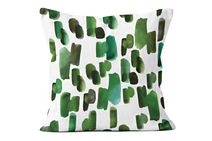 Watercolour Rain Blue/Green Pillow