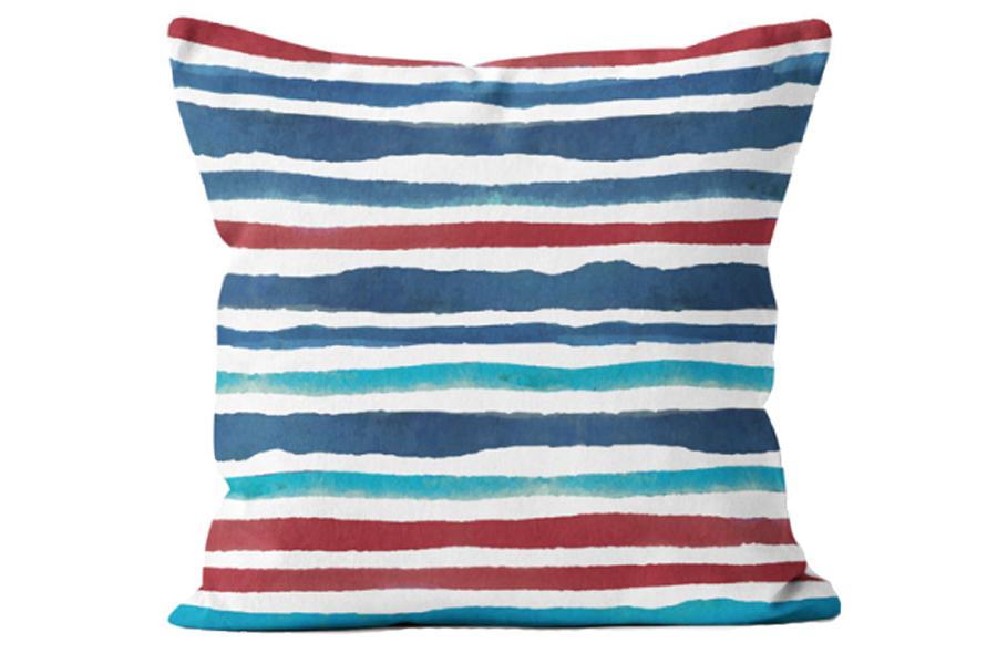 20″x20″ Watercolour Stripe Red and Blue