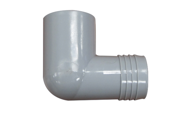 PVC SCH 40, 90 Degree Elbow 1 1/2″ Socket Male Insert (SPIG) X 1 1/2″ Barbed
