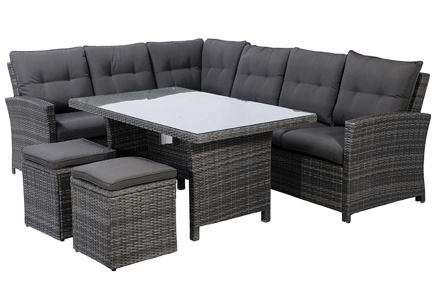Five-Piece Dining Sectional Charcoal Grey