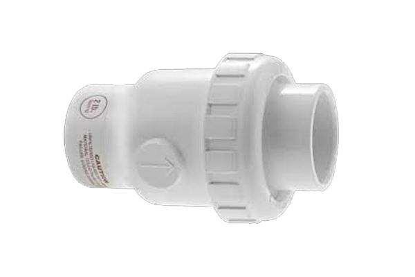 1 1/2″ White PVC Single Union Spring Check Valve SKT X SKT 1/4 LB, 1/2 LB & 2 LB