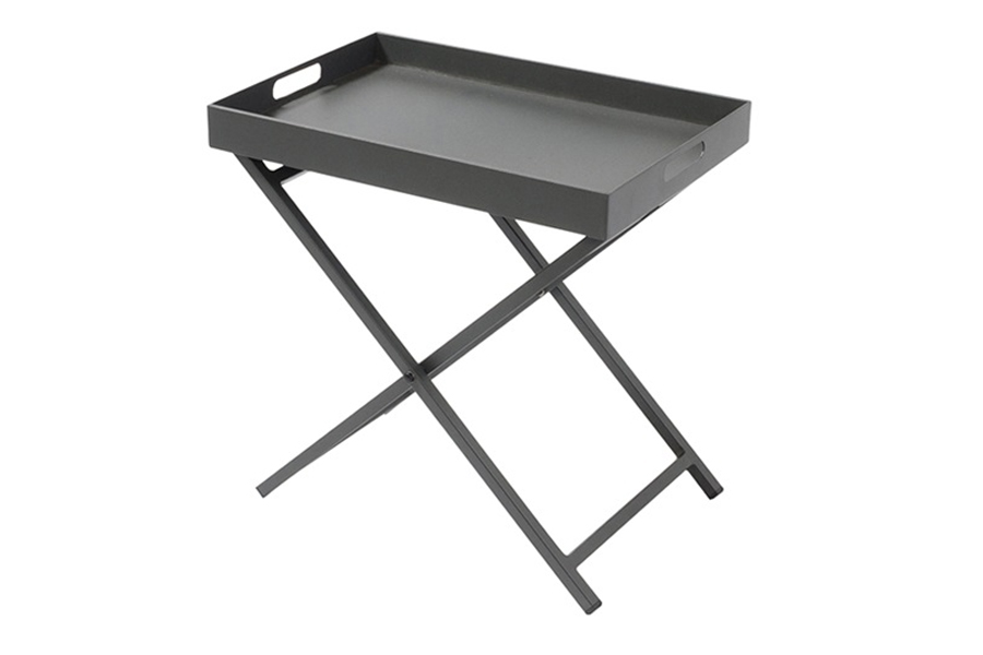 "16"" x 24"" Side Table With Removable Tray Anthracite Grey"