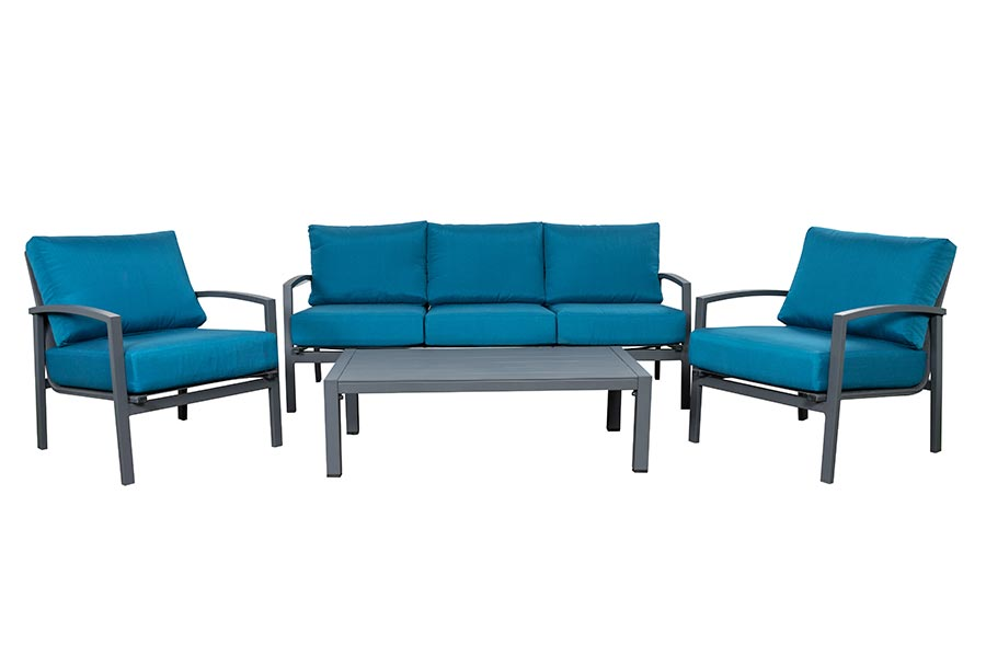 Four Piece Deep Seating Steel Blue