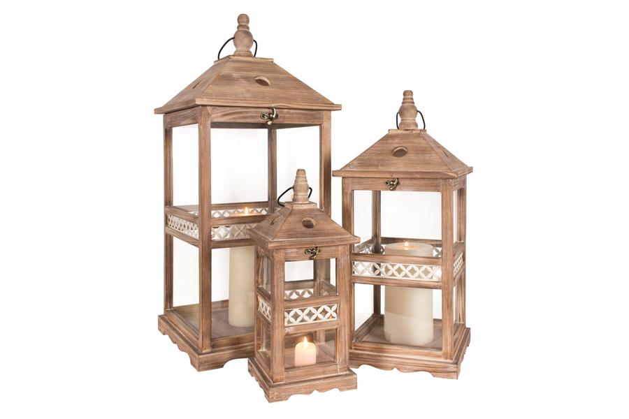 Set Of 3 Lanterns Brown/White