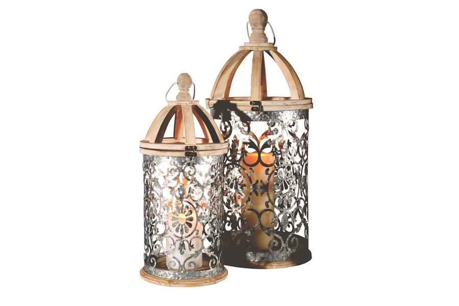 2 Flower Metal Stamp Lantern Set