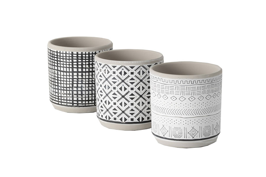 Assorted Black/White Tribal Pots