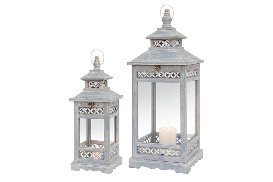 Square Blue Lantern Set