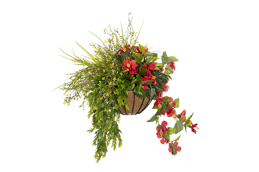 Hanging Basket Red Hibiscus With Yellow Flowers & Foliage